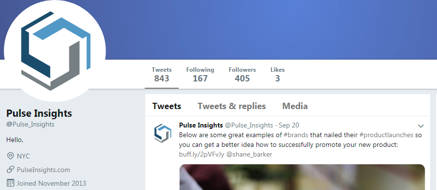 Pulse insights twitter account